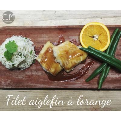 Aiglefin à l'orange, riz basmati parfumé et haricots verts